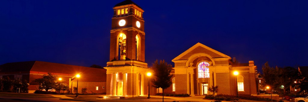Chapel and bell tower at night